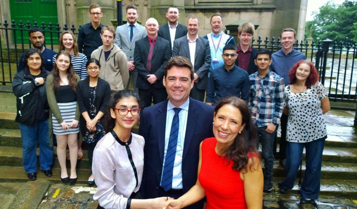 Debbie Abrahams with Andy Burnham at annual summer school